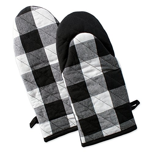 DII Cotton Buffalo Check Plaid Oven Mitts, 13x6