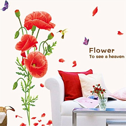 Suyunyuan DIY Poppy Flowers butterfly Wall Stickers Wedding Home Party Decor Living Room Kids Decoration Sticker Decal Backdrop Mural Art