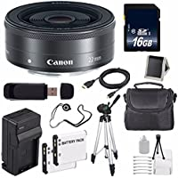 Canon EF-M 22mm f/2 STM Lens + 16GB SDHC Class 10 Memory Card 6AVE Bundle 7