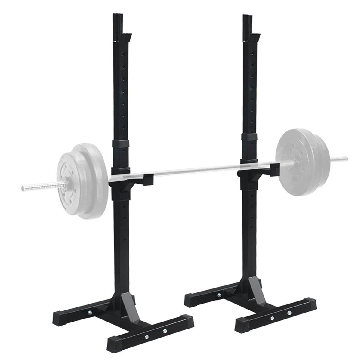 Sportmad Pair of Dumbbell Rack Adjustable Standard Solid Sturdy Steel Squat Stands Barbell Bench Free Press Stands Portable Rack for Home Gym Exercise Fitness Workout Training, 400lbs Capacity, Black