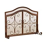 Small Crest Fireplace Screen With Doors, in Copper Finish