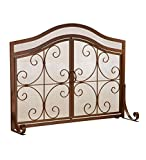 Plow & Hearth Crest Large Fireplace Screen with Doors, Solid Wrought Iron, Powder Coat Base, Metal Mesh, Decorative Scrollwork Design, Free Standing, Copper Finish, 41 W x 27 H at center, 21 H at ends