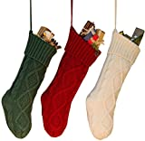 3PCS 18'' Unique Burgundy and Ivory White and Green Knitted Christmas Stockings