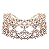XY Fancy Women Fashion Punk Chain Collar Necklace Wide Band Alloy Rhinestone Choker