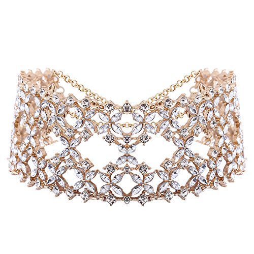 XY Fancy Women Fashion Punk Chain Collar Necklace Wide Band Alloy Rhinestone Choker Gold