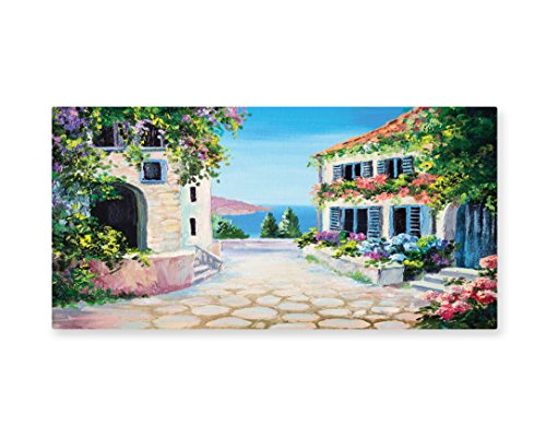 Lunarable Rustic Wall Art, Greek Houses in an Ancient Village Sea With Colorful Plants Around Artwork, Gloss Aluminium Modern Metal Artwork for Wall Decor, 23.5 W X 11.6 L Inches, Beige Blue Green -