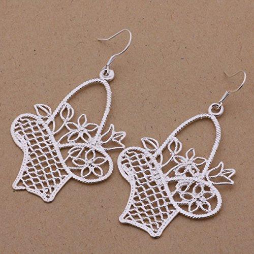 Pierced Basket (925 Korean retro small Hollow basket silver ear hook Silver Earrings Pierced)