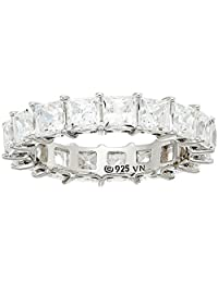 Platinum Plated Sterling Silver Swarovski Zirconia Princess Cut Infinity Band Ring, 5 cttw