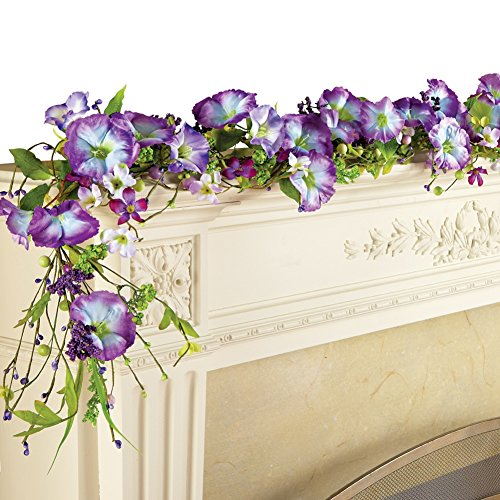Purple Morning Glory And Berries 62 Inch Garland, Purple (Garland Fireplace Mantel For)