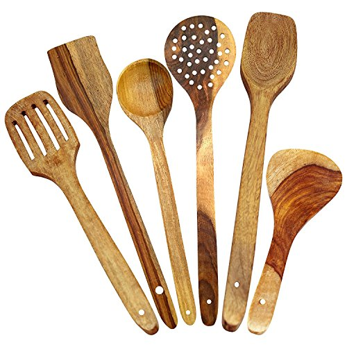 Craftatoz Multipurpose Wooden Serving and Cooking Non Stick Spoons Set of 6 (Brown) Price & Reviews