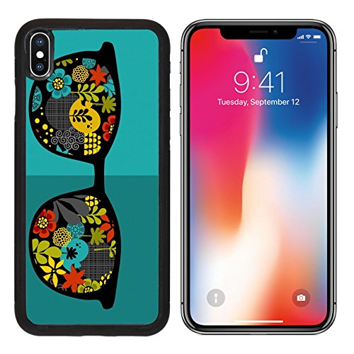 MSD Premium Apple iPhone X Aluminum Backplate Bumper Snap Case IMAGE ID: 31108120 Retro sunglasses with reflection for hipster Vector illustration of accessory glasses isolated Best print for - Sunglasses Jung