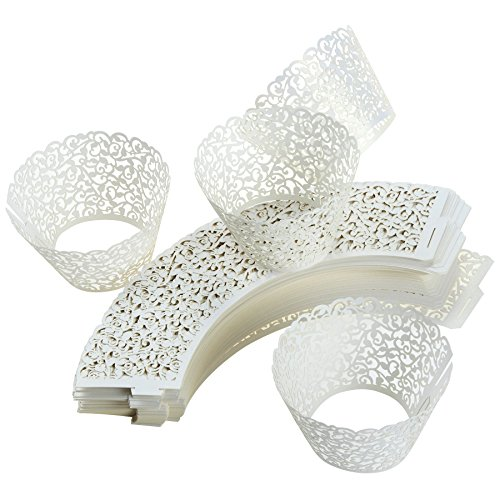 100 Piece White Cupcake Liners - Artistic Filigree Decorative Laser Cut Wrappers - Elegant Vine Lace Hollow Pattern Design - Great for Weddings, Birthdays, Christmas, Special Occasions ()