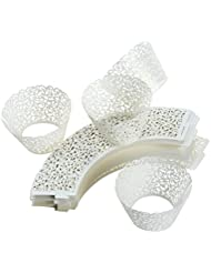 100 Piece White Cupcake Liners - Artistic Filigree Decorative Laser Cut Wrappers - Elegant Vine Lace Hollow Pattern Design - Great for Weddings, Birthdays, Christmas, Special Occasions