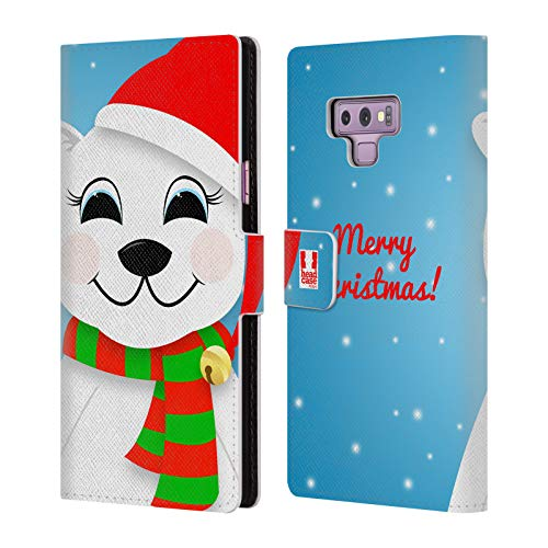 Head Case Designs Polar Bear Jolly Christmas Leather Book Wallet Case Cover for Samsung Galaxy Note9 / Note 9