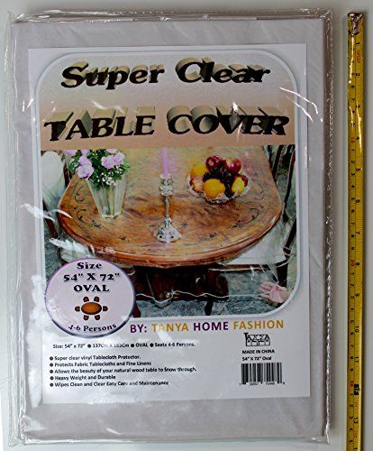 """100% Vinyl Super Clear and Durable Tablecloth Protector Size 54"""" X 72"""" Oval"""