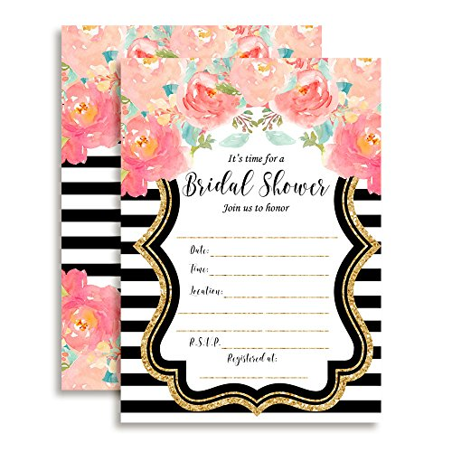 Watercolor Peony Bridal Shower Fill In Invitations