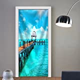 Gzhihine custom made 3d door stickers Exotic Caribbean Island. Tropical Beach Resort. Travel or Vacations Concept Fabric Home Decor For Room Decor 30x79