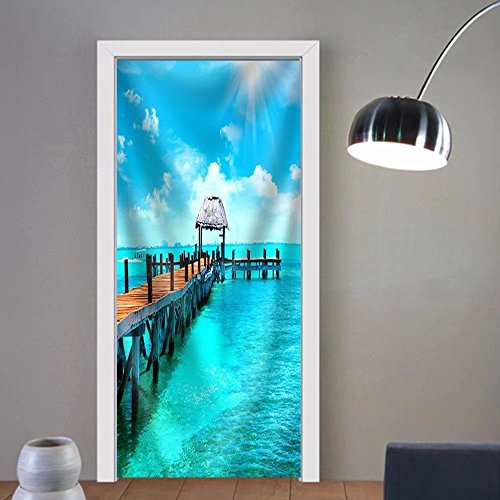 Gzhihine custom made 3d door stickers Exotic Caribbean Island. Tropical Beach Resort. Travel or Vacations Concept Fabric Home Decor For Room Decor 30x79 by Gzhihine