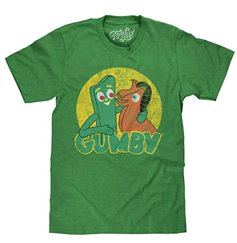 Tee Luv Gumby T-Shirt - Gumby and Pokey Cartoon Shirt (X-Large) Green Heather -