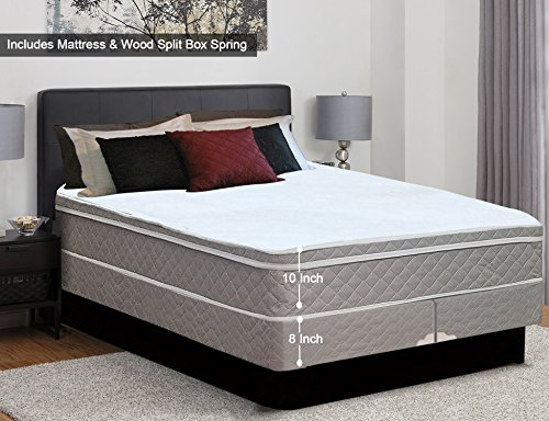 Spinal Solution, 10-Inch Plush Medium Eurotop Innerspring Mattress And 8-inch Split Wood Traditional Box Spring/Foundation Set, No Assembly Required, Queen Size ()