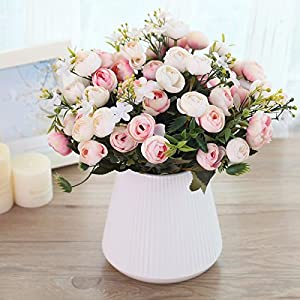 Situmi Artificial Fake Flowers Potted Plants Camellia Pink Home Accessories 30