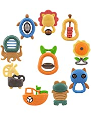 TUMAMA 10pcs Baby Rattles Teether Toys, Shaker, Grab Infant Toys, Bright Color and Various Shapes Rattle Gift Set Sensory Development Toys for 3, 6, 9, 12 Month Baby Infant, Newborn