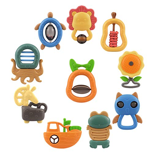 (TUMAMA 10pcs Baby Rattles Teether Toys, Shaker, Grab Infant BPA Free Toys, Bright Color and Various Shapes Rattle Gift Set Sensory Development Toys for 3, 6, 9, 12 Month Baby Infant, Newborn)