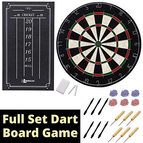(BETTERLINE Professional Bristle/Sisal Dart Board Set and Cricket Scoreboard Kit / 45 cm (18 Inch) Diameter Wire-Spider Dartboard with Staple-Free Bullseye / 6 Darts)