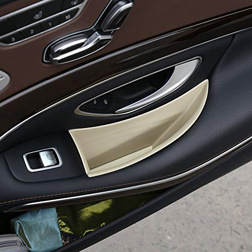 Price comparison product image Plastic Auto Front Rear 4 Door Storage Box Container Holder Tray Accessories for Mercedes Benz S-Class W222 2014-2018 LHD beige