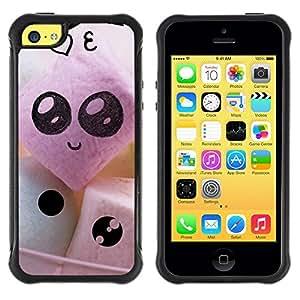 LASTONE PHONE CASE / Suave Silicona Caso Carcasa de Caucho Funda para Apple Iphone 5C / Funny Cute Faces