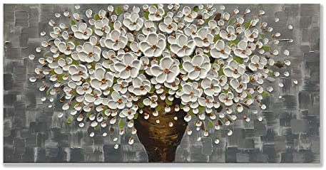 zoinart Oil Paintings 2448 , 3D Canvas Wall Art White Flower Vases Decorations, Blooming Floral Paintings Framed Wall Pictures for Dining Room Bedroom Office Kitchen Living Room Walls YH-B43