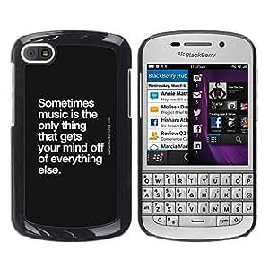 TopCaseStore / la caja del caucho duro de la cubierta de protección de la piel - Dance Quote Black White - BlackBerry Q10