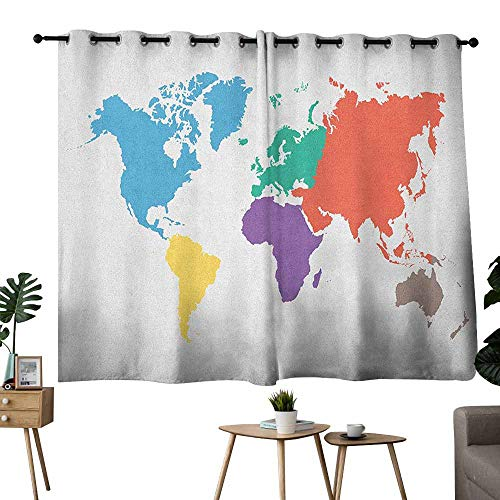 - Mannwarehouse Map Bedroom Balcony Living Room Curtain Continents of The World in Regions Lands Global International Theme Noise Reducing 63