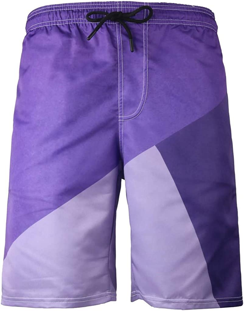 meidexian888 Mens Summer 3D Printed Elastic Tie Waist Shorts Casual Beach Pants Purple