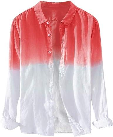 MEETEW Camisa de Manga Larga para Hombre de Ajuste estándar con Botones de Estilo Hipster: Amazon.es: Ropa y accesorios