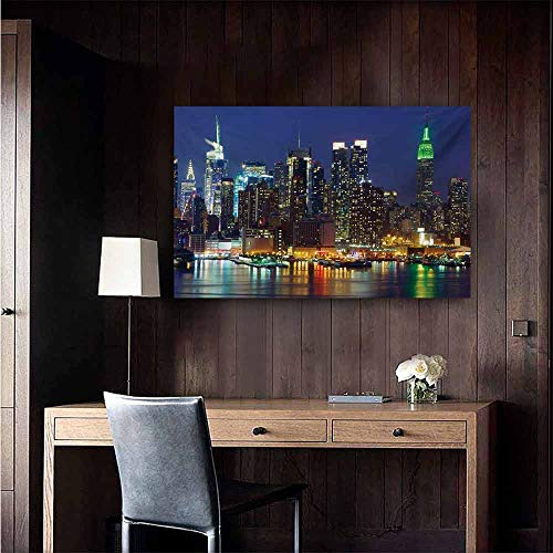- New York Light Luxury American Oil Painting NYC Midtown Skyline in Evening Skyscrapers Amazing Metropolis City States Photo Home and Everything 32
