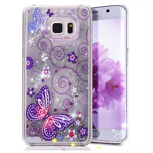 Galaxy S6 Edge Plus Case, Crazy Panda Samsung Galaxy S6 Edge Plus 3D Creative Design Flowing Liquid Floating Bling Glitter Sparkle Star Crystal Clear Case Cover for S6 Edge Plus - Butterflies