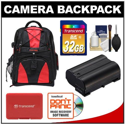 Precision Design Multi-Use Laptop/Tablet Digital SLR Camera Backpack Case (Black/Red) with 32GB Card + EN-EL15 Battery + Accessory Kit for Nikon D7000, D600, D800 and D800E, Best Gadgets