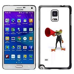 Be Good Phone Accessory // Dura Cáscara cubierta Protectora Caso Carcasa Funda de Protección para Samsung Galaxy Note 4 SM-N910 // Frog Orator White Minimalist