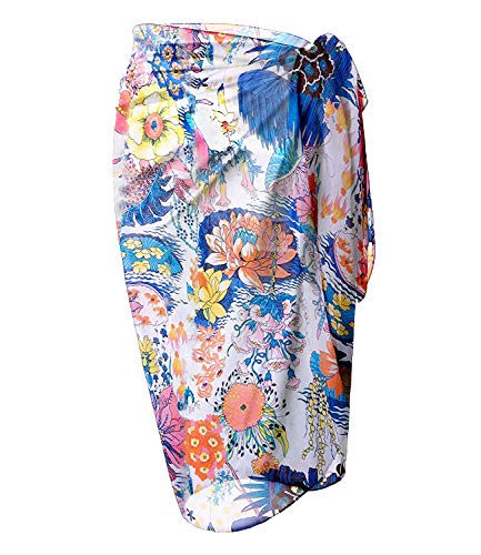 LIENRIDY Women's Swimsuit Cover Up Sarong Bikini Swimwear Beach Cover-Ups Wrap Skirt Middle Multi White
