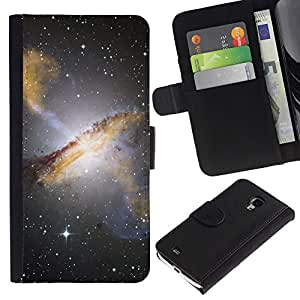 KLONGSHOP / Tirón de la caja Cartera de cuero con ranuras para tarjetas - Stars Night Sky Hubble View Photo Galaxy Yellow - Samsung Galaxy S4 Mini i9190 MINI VERSION!
