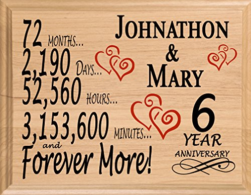 Broad Bay 6th Personalized 6 Year Anniversary Wedding Gift for Wife Husband Couple Him Her (Sixth Wedding Anniversary Gift Ideas For Her)