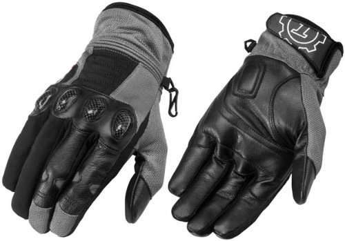 FirstGear Mesh Tex Men's Vented Textile/Leather Street Motorcycle Gloves - Dark Grey/Black / X-Large