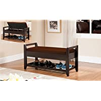 Kings Brand Furniture Wood Shoe Storage Bench with Cushion Seat, Espresso