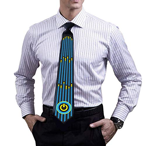 LED Glow Tie, Sound Activated Novelty Tie, Light Up Tie for Rave Party, DJ Bar, Christmas and More]()