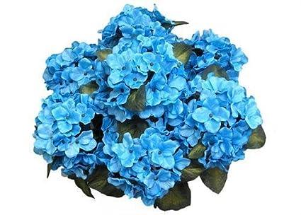 Amazon jenlyfavors satin hydrangea silk flower bush 7 heads jenlyfavors satin hydrangea silk flower bush 7 heads turquoise mightylinksfo