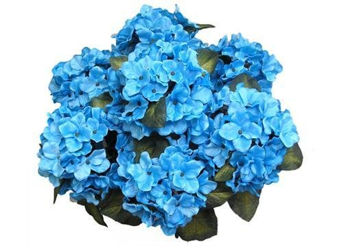 JenlyFavors 22 Inch X-Large Satin Artificial Hydrangea Silk Flower Bush 7 Heads (Turquoise)