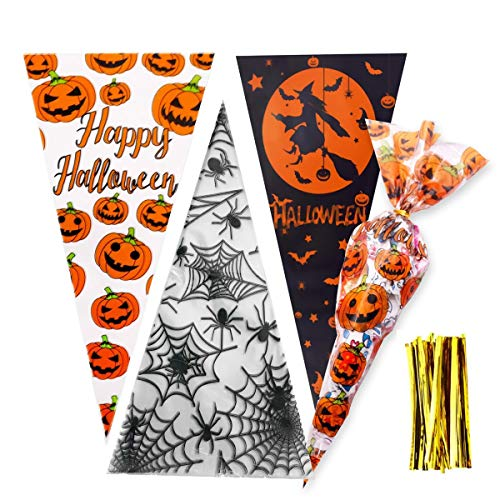 BoloShine Halloween Cone Bags, 150PCS Pumpkin Cone Bag Halloween Clear Cellophane Treat Bags with 150 Pieces Gold Twist Ties for Kids Halloween Party Favor