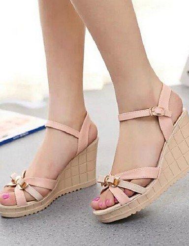 ShangYi Sandaletten für Damen Damenschuhe - Sandalen - Büro / Kleid - Kunstleder - Keilabsatz - Komfort - Blau / Rosa / Mandelfarben Blue
