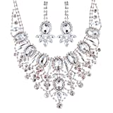 ACCESSORIESFOREVER Women Bridal Wedding Prom Fashion Jewelry Set Crystal Rhinestone Luxurious Dazzle Necklace Silver
